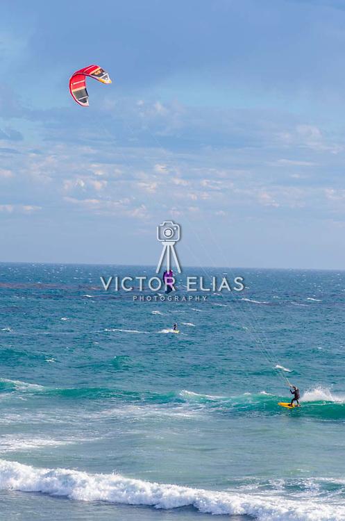 Kite and wind surfing.Malibu, CA. United States