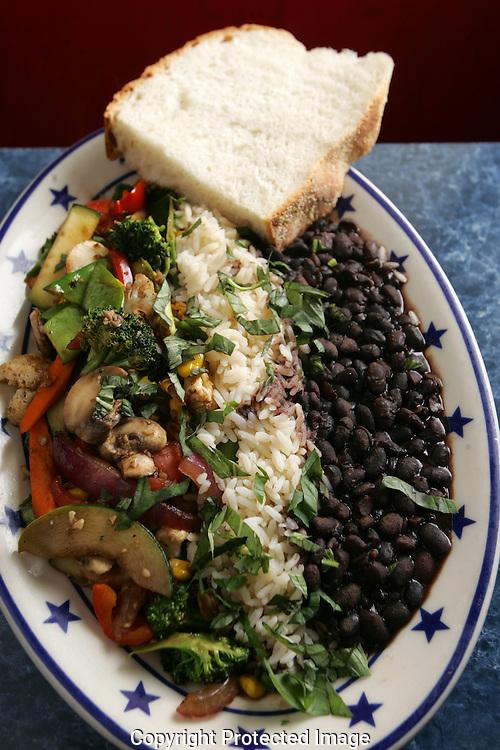 The Starliner Diner's Pan Roasted Vegetables.served with black beans on steamed rice for $9.25. (Jodi Miller/Alive)..