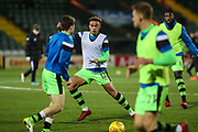 Forest Green Rovers Jordan Simpson(12) warming up during the EFL Trophy 3rd round match between Yeovil Town and Forest Green Rovers at Huish Park, Yeovil, England on 9 January 2018. Photo by Shane Healey.