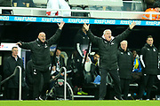 Newcastle United manager Steve Bruce reacts as Newcastle are not awarded a free kick during the Premier League match between Newcastle United and Crystal Palace at St. James's Park, Newcastle, England on 21 December 2019.