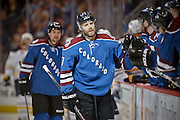 SHOT 3/28/15 8:58:48 PM - The Colorado Avalanche's Brad Stuart #17 celebrates after scoring a goal against the Buffalo Sabres during their regular season NHL game at the Pepsi Center in Denver, Co. The Avalanche won the game 5-3. (Photo by Marc Piscotty / © 2015)