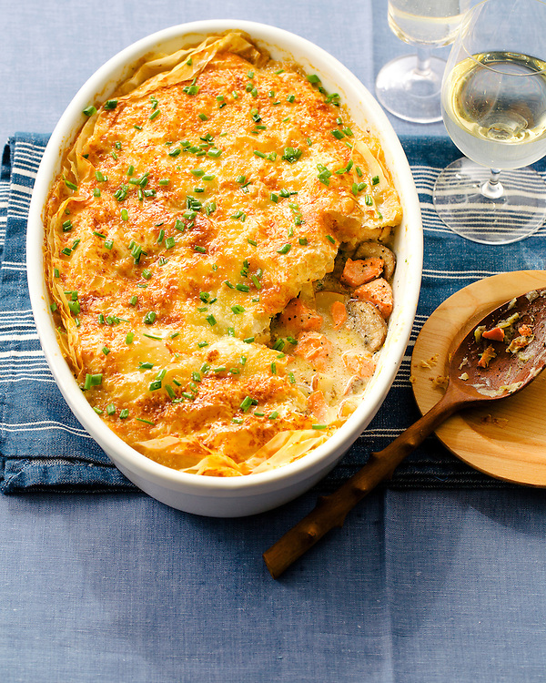 Crisp Phyllo Topped Salmon Pot Pie