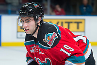 KELOWNA, CANADA - OCTOBER 28: Dillon Dube #19 of the Kelowna Rockets stands on the ice against the Prince George Cougars on October 28, 2017 at Prospera Place in Kelowna, British Columbia, Canada.  (Photo by Marissa Baecker/Shoot the Breeze)  *** Local Caption ***