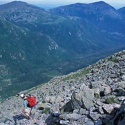 Mt. Washington, NH.A hiker on the Great Gulf Headwall.  Great Gulf Trail.  Wilderness Area.  Northern Presidentials.  White Mountains National Forest.