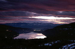 &quot;Donner Lake Sunrise 1&quot;- This sunrise was photographed from the west end of Donner Lake, facing toward the town of Truckee, CA.<br />