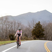 BEDFORD, VA - FEB 22: Ben Wright rides along Route 43 during a training ride on Wednesday, Feb. 22, 2017 in Lynchburg, Va. (Photo by Jay Westcott/The News & Advance)