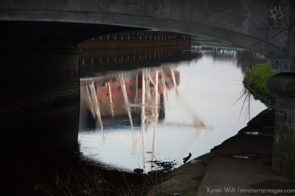Europe, United Kingdom, Wales, Cardiff. Reflections of the Taff River under bridge in Cardiff.