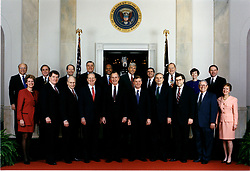 Washington, DC - March 19, 1992 -- 1992 Official George H.W. Bush Cabinet Photograph. Front Row (left to right): Lynn Martin, Secretary of Labor; Edward Madigan, Secretary of Agriculture; Richard Cheney, Secretary of Defense; James A. Baker III, Secretary of State; United States President George H.W. Bush; United States Vice President Dan Quayle; Nicholas Brady, Secretary of the Treasury; William Barr, Attorney General, Manuel Lujan, Jr., Secretary of the Interior; Barbara Franklin, Secretary of Commerce. Second Row (left to right): Clayton Yeutter, Counsellor to the President for Domestic Policy; Richard Darman, Director, Office of Management and Budget; Lamar Alexander, Secretary of Education; James Watkins, Secretary of Energy; Louis Sullivan, Secretary of Health and Human Services; Jack Kemp, Secretary of Housing and Urban Development; Andrew Card, Secretary of Transportation; Edward Derwinski, Secretary of Veterans' Affairs; Carla Hills, United States Trade Representative; Samuel Skinner, White House Chief of Staff. Photo by White House/CNP/ABACAPRESS.COM