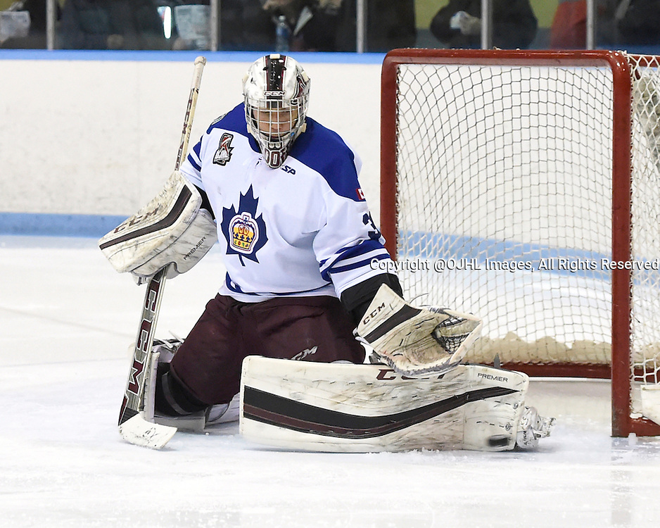 MARKHAM, - Feb 26, 2016 -  Ontario Junior Hockey League game action between Stouffville and Markham at the Markham Centennial Community Centre, ON. Scott Smith #30 of the Markham Royals blocks the shot during the second period.<br /> (Photo by Andy Corneau / OJHL Images)