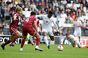 Milton Keynes Dons striker Kieran Agard (14) shoots  during the EFL Sky Bet League 1 match between Milton Keynes Dons and Port Vale at stadium:mk, Milton Keynes, England on 9 October 2016. Photo by Dennis Goodwin.