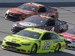 April 29, 2018 - Talladega, AL, U.S. - TALLADEGA, AL - APRIL 29: Ryan Blaney, Team Penske, Ford Fusion Menards/Richmond (12), Kevin Harvick, Stewart-Haas Racing, Ford Fusion Busch Beer Flannel (4) and Daniel Suarez, Joe Gibbs Racing, Toyota Camry ARRIS (19) race three wide during the Monster Energy Cup Series 49th Annual Geico 500 on April 29, 2018, at Talladega Superspeedway in Talladega, AL. (Photo by Jeffrey Vest/Icon Sportswire) (Credit Image: © Jeffrey Vest/Icon SMI via ZUMA Press)
