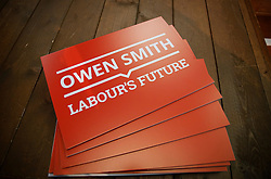 © Licensed to London News Pictures. 26/07/2016. London, UK. Owen Smith campaign leaflets lying on a table at a Labour leadership rally for Owen Smith MP  at Emmanuel Centre in London on 26 July 2016. Photo credit: Tolga Akmen/LNP