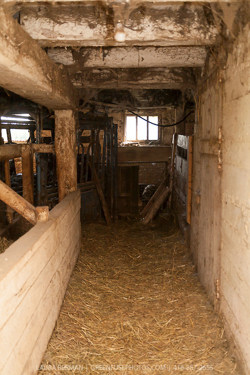 Interior of an old barn.