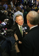 10 February 2007: US Senator Richard Durbin (D-IL) is interviewed after a town hall meeting for Democratic presidential hopeful Senator Barack Obama (D-IL) at Kennedy High School in Cedar Rapids, Iowa on February 10, 2007.