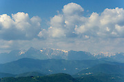 Slovenia. View towards the Carnian Alps from Korada.