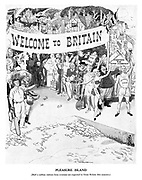 Pleasure island. [Half a million visitors from overseas are expected in Great Britain this summer.] (the people of Britain including sportsmen, entertainers and workers hold up a banner Welcome To Britain at the seaside in preparation for the 1948 London Olympics)