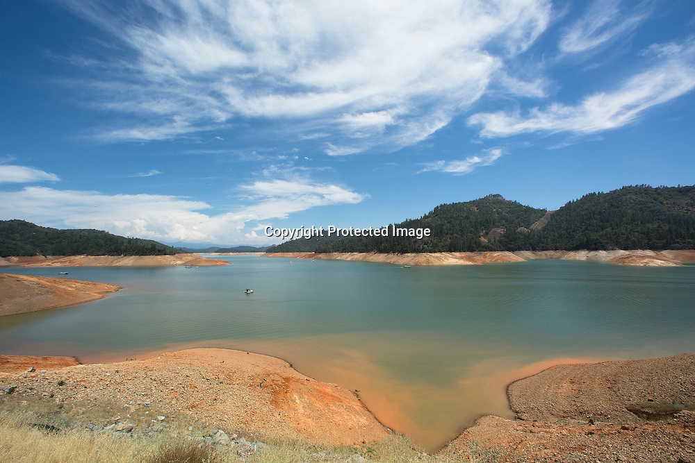 The drought effects in Shasta Lake - the largest resevoir of California located a few miles from Redding in Northern California and the most important reservoir of the Central Valley Project and California's agriculture.