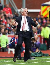 Stoke City manager Mark Hughes gestures angrily - Mandatory by-line: Matt McNulty/JMP - 20/08/2016 - FOOTBALL - Bet365 Stadium - Stoke-on-Trent, England - Stoke City v Manchester City - Premier League