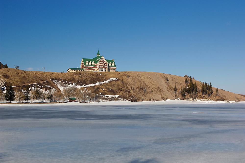Winter, Prince of Wales Hotel, Waterton Lakes National Park, Waterton, Alberta, Canada.