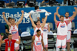 Players of Croatia celebrate victory during basketball match between national team of Croatia and Italy of Eurobasket 2013 on September 14, 2013 in SRC Stozice, Ljubljana, Slovenia. (Photo By Matic Klansek Velej / Sportida.com)