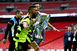 Free to use courtesy of Sky Bet - Elias Kachunga and Mark Hudson of Huddersfield Town celebrate winning the Sky Bet Championship Playoff Final and promotion to the Premier League - Mandatory by-line: Robbie Stephenson/JMP - 29/05/2017 - FOOTBALL - Wembley Stadium - London, England - Huddersfield Town v Reading - Sky Bet Championship Play-off Final