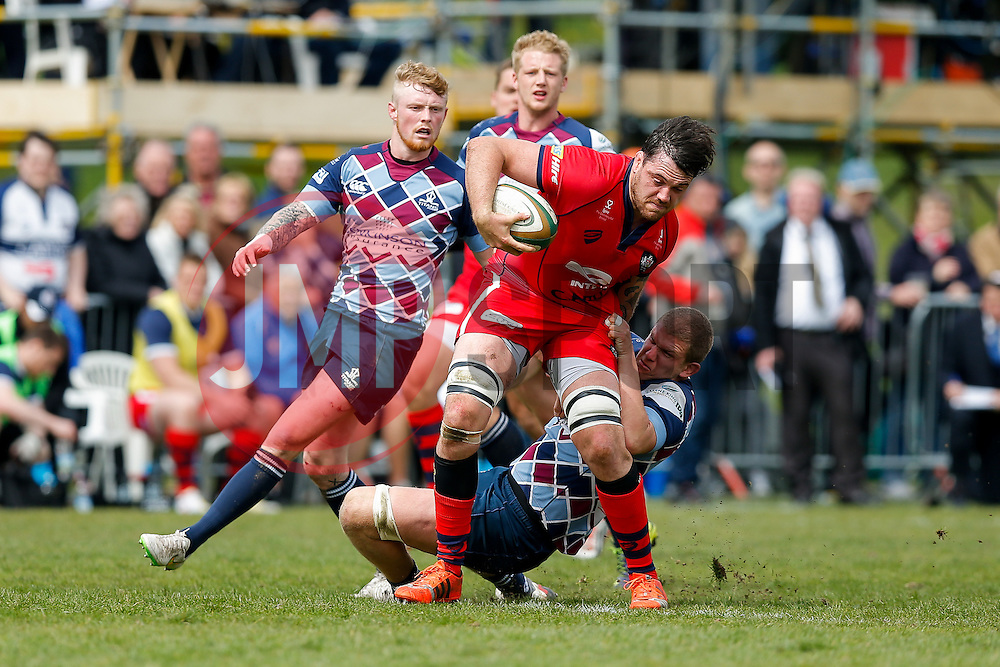 Bristol Rugby Lock Glen Townson is tackled by Rotherham Titans Lock Barney Maddison - Photo mandatory by-line: Rogan Thomson/JMP - 07966 386802 - 10/05/2015 - SPORT - RUGBY UNION - Abbeydale Park, Sheffield - Rotherham Titans v Bristol Rugby - Greene King IPA Championship Play Off Semi Final Second Leg.