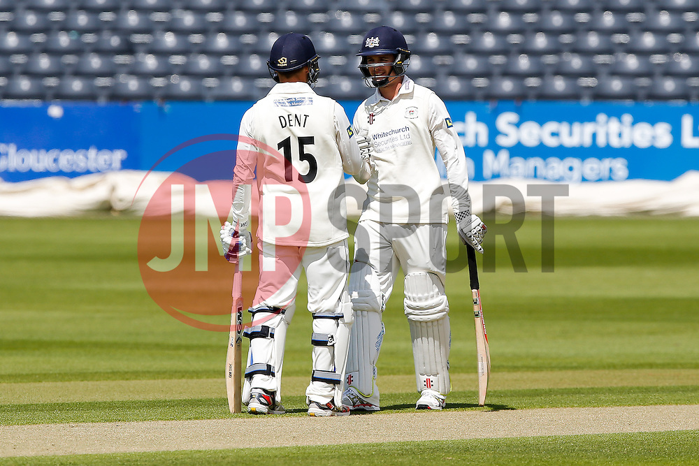 Chris Dent and Gareth Roderick of Gloucestershire - Photo mandatory by-line: Rogan Thomson/JMP - 07966 386802 - 18/05/2015 - SPORT - CRICKET - Bristol, England - Bristol County Ground - Gloucestershire v Kent - Day 1 - LV= County Championship Division Two.