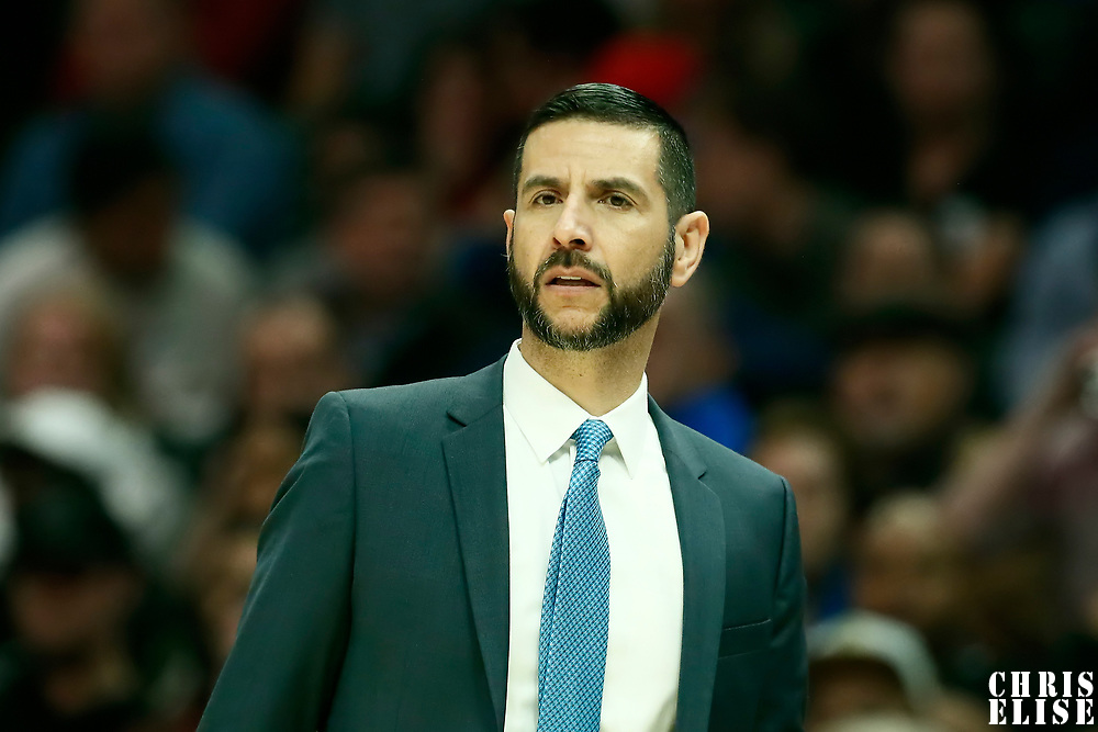 LOS ANGELES, CA - OCT 28: Charlotte Hornets head coach James Borrego is seen during a game on October 28, 2019 at the Staples Center, in Los Angeles, California.
