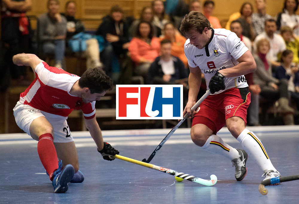 BERLIN - Indoor Hockey World Cup<br /> Austria - Belgium<br /> foto: HASUN Xaver (C) and BOON Tom<br /> WORLDSPORTPICS COPYRIGHT FRANK UIJLENBROEK