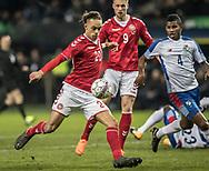 FOOTBALL: Yussuf Poulsen (Denmark) shoots at goal during the friendly match between Denmark and Panama at Brøndby Stadium on March 22, 2018 in Brøndby, Copenhagen, Denmark. Photo by: Claus Birch / ClausBirch.dk.