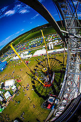 "The view from the Giant Wheel. Saturday at Rockness 2013, the annual music festival which took place in Scotland at Clune Farm, Dores, on the banks of Loch Ness, near Inverness in the Scottish Highlands. The festival is known as ""the most beautiful festival in the world"" ."
