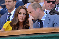 © Licensed to London News Pictures. 15/07/2018. London, UK. HRH The Duke of Kent and HRH The Duchess of Cambridge  watch center court tennis in the royal box on the second day of the Wimbledon Tennis Championships 2018 held at the All England Lawn Tennis and Croquet Club. Photo credit: Ray Tang/LNP