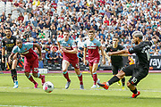 GOAL 0-4 Manchester City forward Sergio Aguero (10) retakes his penalty and scores, VAR, during the Premier League match between West Ham United and Manchester City at the London Stadium, London, England on 10 August 2019.