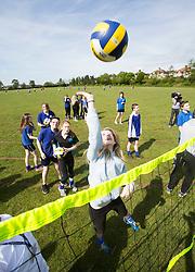 Sport in Schools Feature. Marion Bartoli GB Volleyball Player workshop at Flintlock School, Derbyshire.  Client EdComs