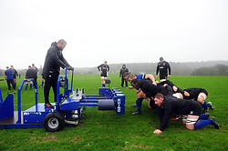 Mark Lilley and the Bath Rugby forwards in action at the scrum machine - Mandatory byline: Patrick Khachfe/JMP - 07966 386802 - 16/01/2020 - RUGBY UNION - Farleigh House - Bath, England - Bath Rugby Training Session
