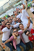 Pre match build up at Brighton's Big Screen Events match showing at Madeira Drive, to watch England and Russia at Stade Velodrome, Marseille, France on 11 June 2016. Photo by Stuart Butcher.