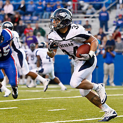 December 4, 2010; Ruston, LA, USA;  Nevada Wolf Pack running back Vai Taua (34) runs against the Louisiana Tech Bulldogs during the second half at Joe Aillet Stadium.  Nevada defeated Louisiana Tech 35-17. Mandatory Credit: Derick E. Hingle