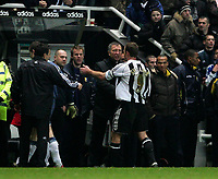 Photo: Andrew Unwin.<br />Newcastle United v Mansfield Town. The FA Cup.<br />07/01/2006.<br />Newcastle's Graeme Souness (C) with Alan Shearer (R) at the end of the game.
