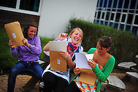 Picture By Jim Wileman  27/08/2009   GCSE exam results at Treviglas Community College, near Newquay, Cornwall.