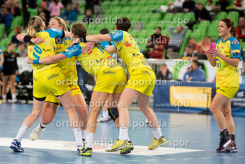 Players of HC Leipzig celebrate after handball match between RK Krim Mercator (SLO) and HC Leipzig (GER) in 6th Round of Women's EHF Champions League 2014/15, on November 21, 2014 in Arena Stozice, Ljubljana, Slovenia. Photo by Urban Urbanc / Sportida