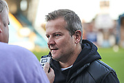 Forest Green Rovers manager, Mark Cooper gives a pre match interview during the EFL Sky Bet League 2 match between Carlisle United and Forest Green Rovers at Brunton Park, Carlisle, England on 17 September 2019.