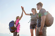 Hiking, Men, Women, High-Five, Success, Outdoor Pursuit, Mountain,