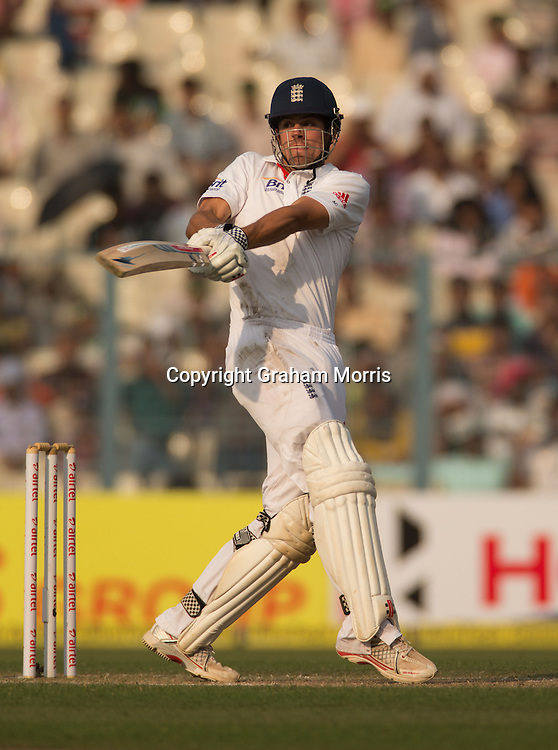 Alastair Cook bats during his century in the third Test Match between India and England at Eden Gardens, Kolkata. Photo: Graham Morris (Tel: +44(0)20 8969 4192 Email: sales@cricketpix.com) 06/12/12