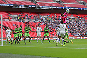 Forest Green Rovers goalkeeper Sam Russell(23) catches a free kick during the Vanarama National League Play Off Final match between Tranmere Rovers and Forest Green Rovers at Wembley Stadium, London, England on 14 May 2017. Photo by Shane Healey.