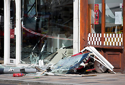 © Licensed to London News Pictures. 10/08/2017. LONDON, UK.  Emergency services attend a scene after a double-decker bus crashed into a shop in Lavender Hill, south London, leaving two women trapped on the top deck this morning on Thursday August 10, 2017.  Photo credit: ISABEL INFANTES/LNP