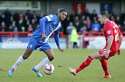 Peterborough United's Mark Little in action with Crawley Town's Mike Jones - Photo mandatory by-line: Joe Dent/JMP - Tel: Mobile: 07966 386802 01/03/2014 - SPORT - FOOTBALL - Crawley - Broadfield Stadium - Crawley Town v Peterborough United - Sky Bet League One