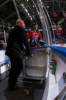 KELOWNA, CANADA - OCTOBER 28: Libor Zabransky #7 of the Kelowna Rockets exits the penalty box with an ice official against the Prince George Cougars on October 28, 2017 at Prospera Place in Kelowna, British Columbia, Canada.  (Photo by Marissa Baecker/Shoot the Breeze)  *** Local Caption ***