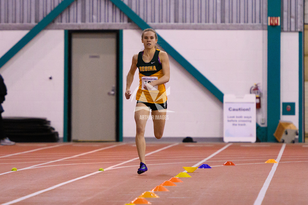 2nd year Cougar Michaela Allen leading the race during the Larmer Friendship Games on December 3 at Regina Field House. Credit Matt Johnson/Arthur Images