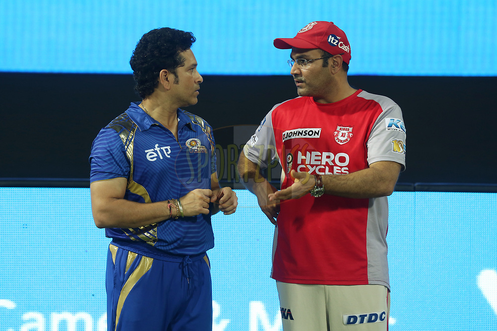 Mumbai Indians icon player Sachin Tendulkar and Kings XI Punjab coach Virender Sehwag after the match 51 of the Vivo 2017 Indian Premier League between the Mumbai Indians and the Kings XI Punjab held at the Wankhede Stadium in Mumbai, India on the 11th May 2017<br /> <br /> Photo by Sandeep Shetty - Sportzpics - IPL