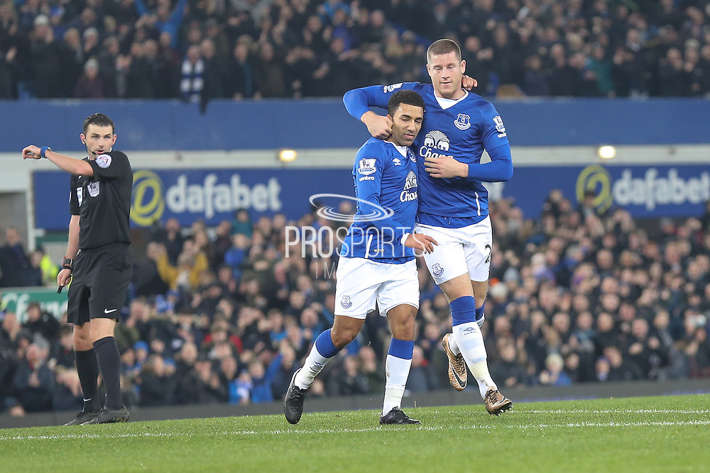 Everton midfielder Ross Barkley  celebrates with Everton midfielder Aaron Lennon   for his goal during the Barclays Premier League match between Everton and Tottenham Hotspur at Goodison Park, Liverpool, England on 3 January 2016. Photo by Simon Davies.